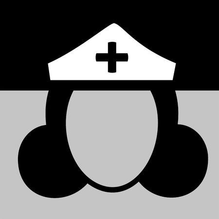 enfermera con cofia: Ilustraci�n de un icono de enfermera en blanco y negro