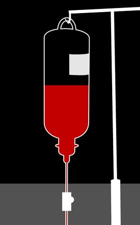 dialysis: Illustration of blood bottle in a stand  Stock Photo