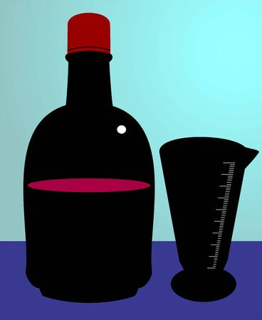 Illustration of syrup bottle and ounce glass  Stock Illustration - 3419762