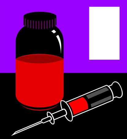 Illustration of silhouette of medical tray and injection  illustration