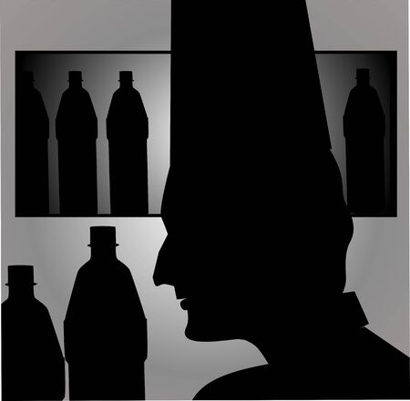 bearer: Illustration of silhouette of a bearer in a cafe  Stock Photo