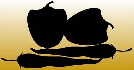 capsicum: Illustration of silhouette of  capsicum   Stock Photo