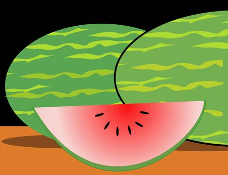 Illustration of water melon and a slice Imagens