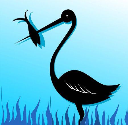 Illustration of a crane catching fish Stock Illustration - 3423657