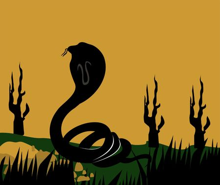 coiled: Illustration of a silhouette of a cobra