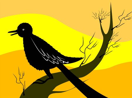 Illustration of a bird sitting on a branch of tree Stock Illustration - 3423652
