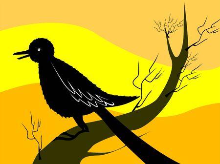 Illustration of a bird sitting on a branch of tree Stock Illustration - 3423652