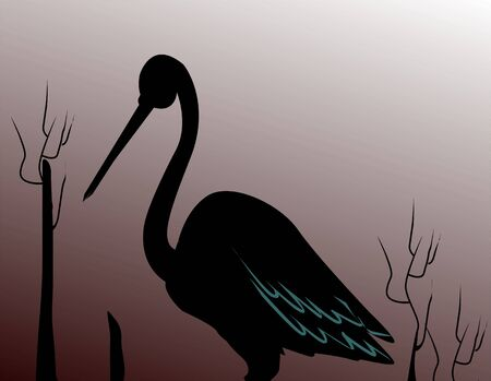 whooping: Illustration of silhouette of a crane