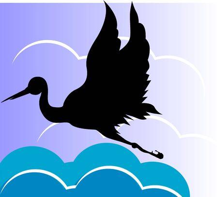 albatross: Illustration of a silhouette of swan flying