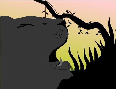 cougars: Illustration of silhouette of a lion roaring