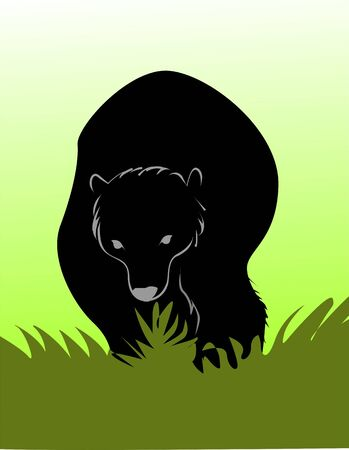 sniff: Illustration of a silhouette of a bear  Stock Photo
