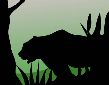 cougars: Illustration of a silhouette of a tiger