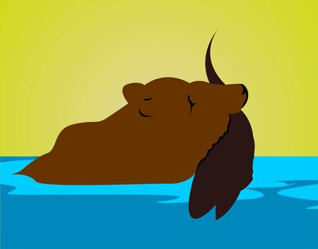 muskrat: Illustration of a silhouette of a muskrat catching fish  Stock Photo