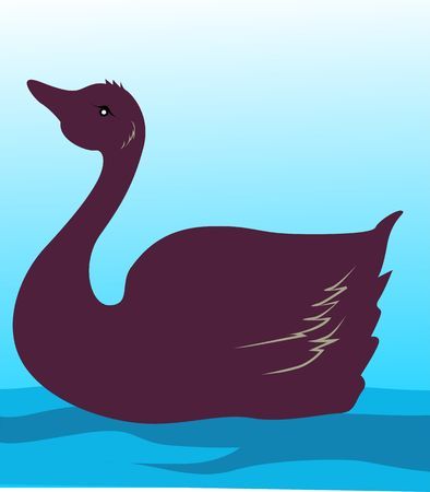 Illustration of a swan in water  illustration