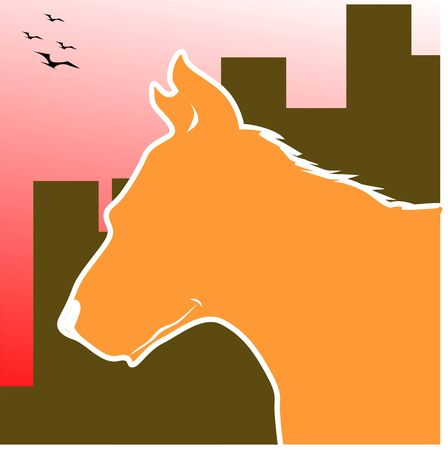 Illustration of silhouette of a horse Stock Illustration - 3423410