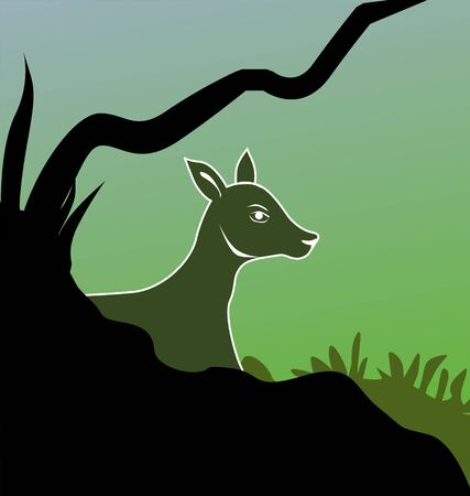 ruminant: Illustration of a silhouette of deer  Stock Photo