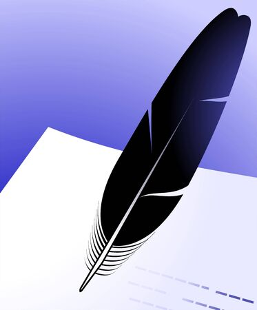 inkpot: Illustration of a quill and inkpot