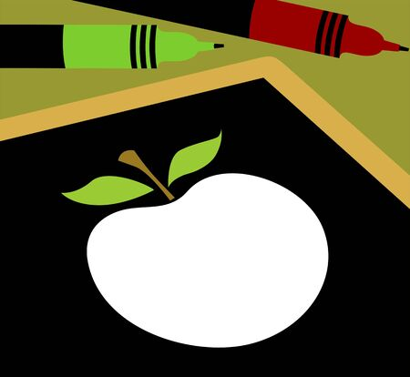 Illustration of an apple on a blackboard  illustration