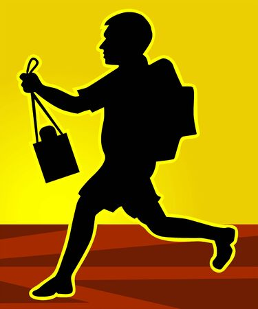 to go: Illustration of silhouette of a school going boy
