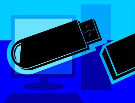pen drive: Illustration of pen drive in blue background