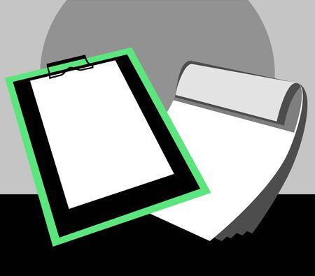 Illustration of paper in a  clip board  illustration
