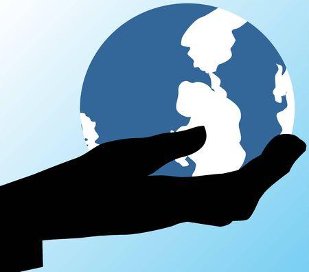 Illustration of globe in hand Stock Illustration - 3424019