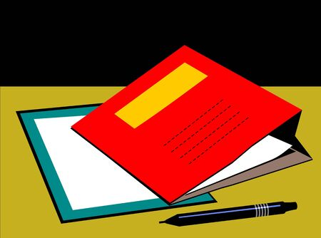 scrutinise: Illustration of red colour folder and pen
