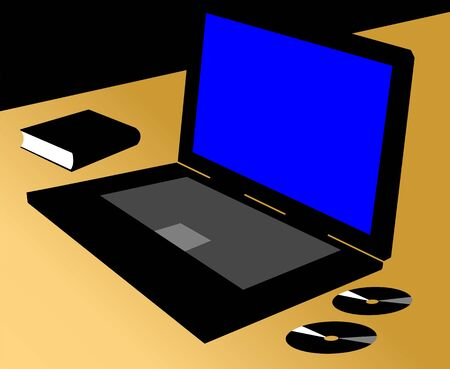 Silhouette of Laptop and discs  photo