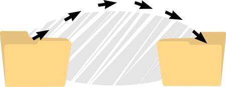docket: Illustration of a transfer of arrows in folders