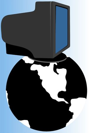 Illustration of computer monitor and earth  illustration