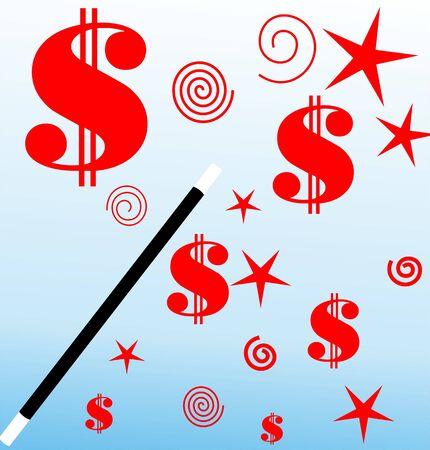 Illustration of stars and dollars  illustration