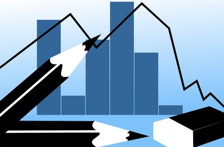 earnings: Illustration of pencil and graph