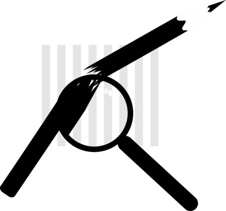 Illustration of a magnifying glass inspecting a graph   illustration