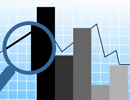 stockmarket: Illustration of a magnifying glass inspecting a graph