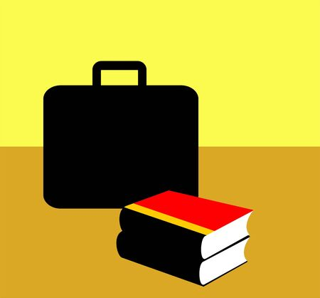 Illustration of a briefcase near books  illustration