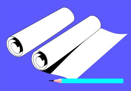 rolled paper: Illustration of pencil near a rolled paper  Stock Photo