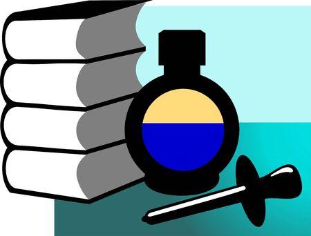 filler: Illustration of filler,  inkpot and books