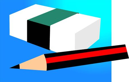 sharpened: Illustration of an eraser with a cover and a sharpened pencil nearby  Stock Photo