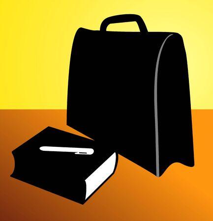Illustration of a briefcase near book  illustration
