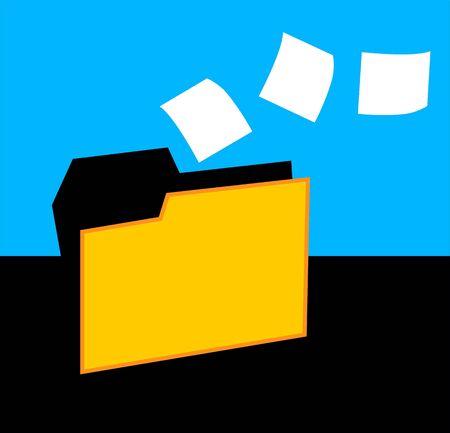 Illustration of a folder with data flying  illustration