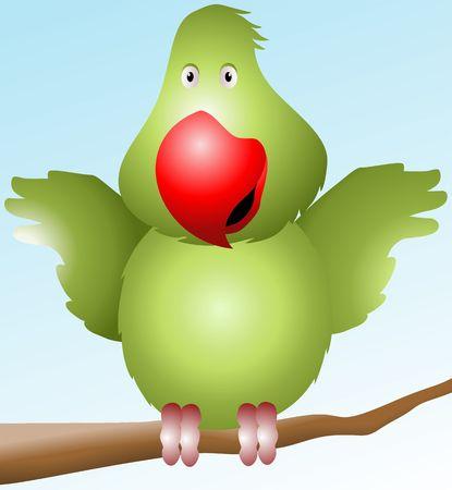 Illustration of a cartoon parrot  illustration