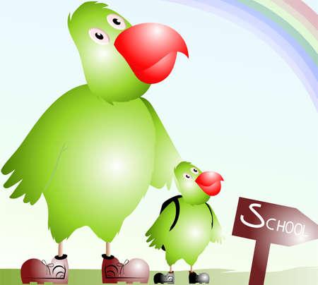 Illustration of cartoon parrots  illustration