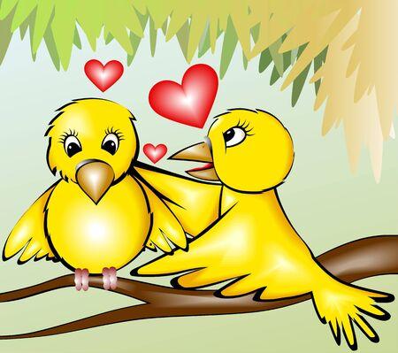 Illustration of two loving birds