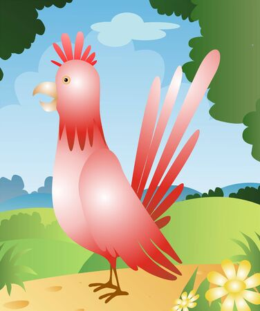 cockrel: Illustration of a cartoon rooster  Stock Photo
