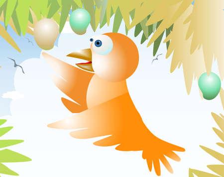 Illustration of a cartoon bird and mangoes  illustration