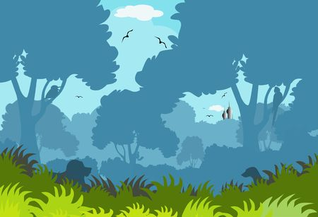 jungle vector: Illustration of a cartoon forest and fort  Stock Photo