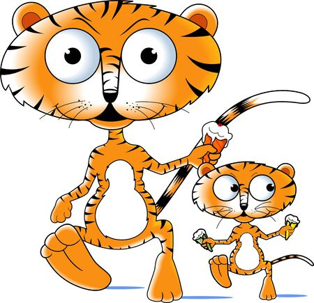 Illustration of a cartoon tiger and cub