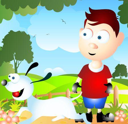 Ilustración de un perro de dibujos animados y niño  Foto de archivo - 3434293