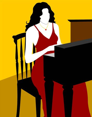 Illustration of silhouette of a lady playing piano  illustration
