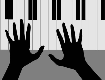 rehearsal: Illustration of silhouette of hands playing piano